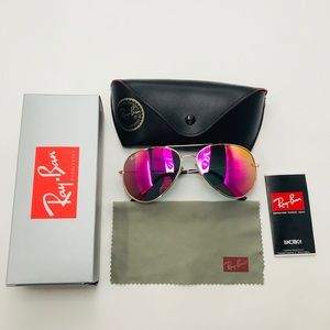 NEW Ray Ban Pink tinted Lens Gold frame Aviator